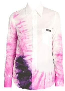 Prada Women's Tie-Dye Button-Down Shirt - White Pink - Size 38 (2)