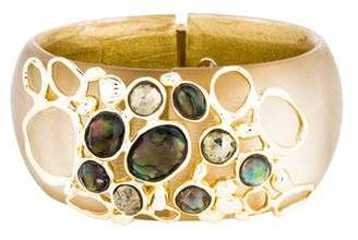 Alexis Bittar Hematite, Crystal & Abalone Doublet Hinged Bangle