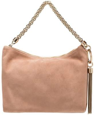 Jimmy Choo ballet pink Callie suede clutch with chain
