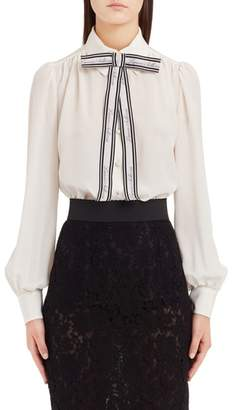 Dolce & Gabbana Bow Neck Silk Crepe de Chine Blouse