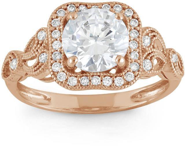 Ice Tiara 2 1/3 CT Cubic Zirconia 10K Rose Gold Vintage Inspired Swirl Design Halo Ring