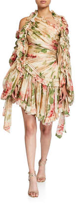 Zimmermann Espionage Drawn Gathered Silk Mini Dress