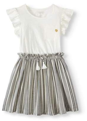 Cherokee Pocket Tee and Yarn Dye Striped Dress (Little Girls & Big Girls)
