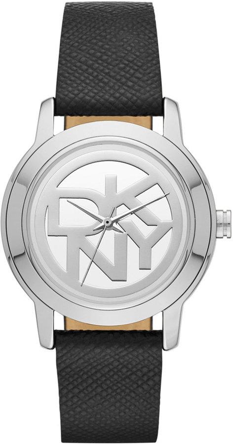 DKNYDKNY Women's Tompkins Black Saffiano Leather Strap Watch 32mm NY2204