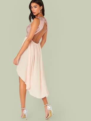 Shein Backless Sequin Bodice Dip Hem Combo Dress