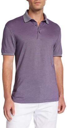 Ermenegildo Zegna Men's Cotton Jersey Polo Shirt with Contrast Collar/Cuffs