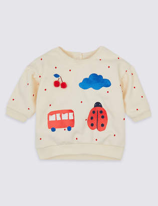 Marks and Spencer Cotton Rich Motif Sweatshirt