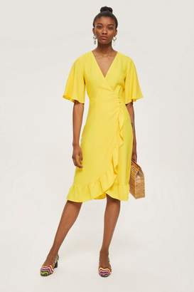 Topshop Crepe ruffle midi wrap dress