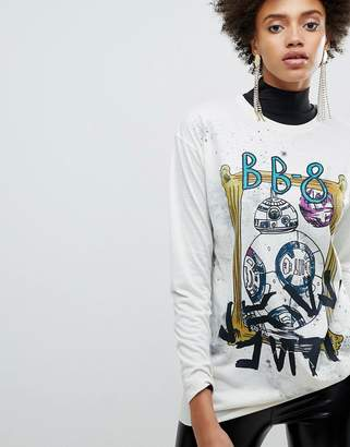 Asos X Star Wars Printed Oversized Long Sleeve T-Shirt