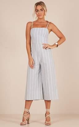 Showpo Shine The Light jumpsuit in grey stripe linen look