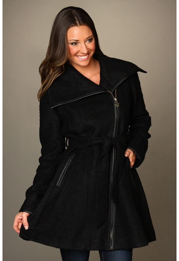 Jessica Simpson Boucle Asymmetrical Coat w/ Faux Leather Binding (Black) - Apparel