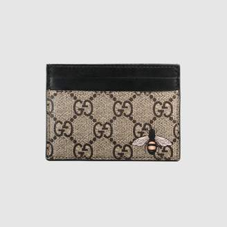 Gucci Bee print GG Supreme card case