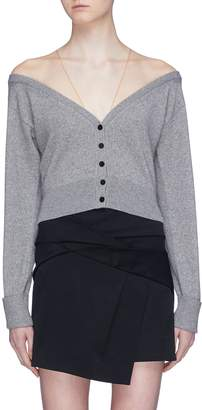 Alexander Wang Mesh shoulder panel cropped cardigan