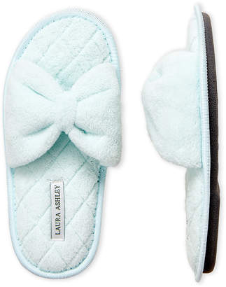 Laura Ashley Terry Cloth Bow Slippers