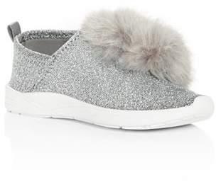 Sam Edelman Girls' Ariana Pom-Pom Glitter Knit Slip-On Sneakers - Toddler, Little Kid, Big Kid