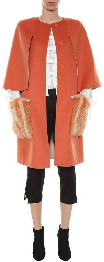 Fendi Double Wool Coat With Fur Pockets