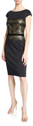 Tadashi Shoji Boat-Neck Cap-Sleeve Neoprene Dress with Lace