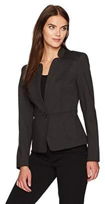 Nine West Women's 1 Button Solid Ponte Jacket