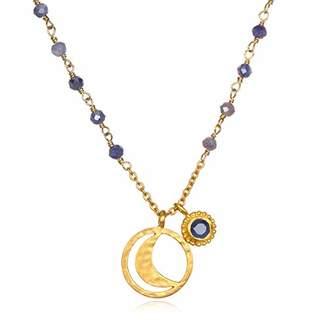 Satya Jewelry Women's Mystic Quartz Gold Moon Wrap Pendant Necklace 18-Inch