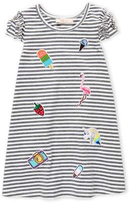 Baby Sara Girls 4-6x) A-Line Stripe Embroidered Dress
