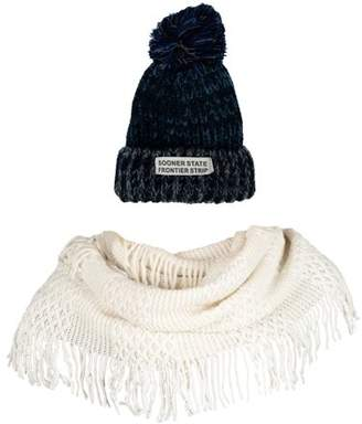 AERUSI Women's Echo PomPom Warm Knitted Casual Beanie and Soft Plush Infinity Scarf Bundle