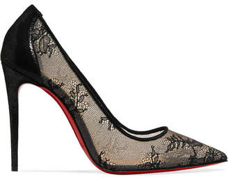 Christian Louboutin 554 100 Lace And Lamé Pumps - Black