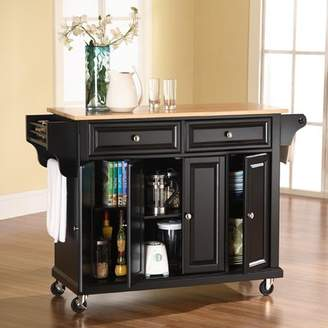 August Grove Wampler Kitchen Cart/Island with Natural Wood Top Base