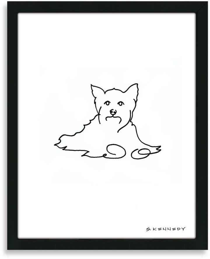 Yorkie Framed Line Drawing