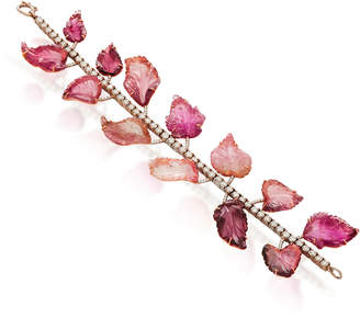 Irene Neuwirth One-Of-A-Kind 18K Gold Carved Pink Tourmaline Leaves Bracelet