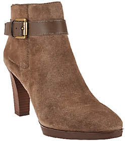 Franco Sarto Suede Boots w/ Ankle BuckleDetail - Idrina