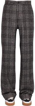 Dolce & Gabbana Loose Fit Checked Alpaca Blend Pants