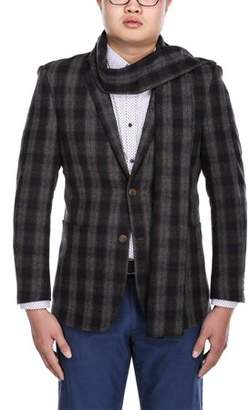 Verno Men's Grey, Navy and Brown Plaid Slim Fit Wool Blend Blazer with Matching Scarf