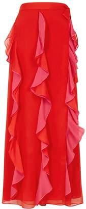 Diane von Furstenberg Salona Red Ruffled Georgette Midi Skirt