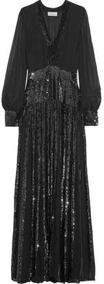 Temperley London Filigree Pleated Sequined Chiffon Gown - Black