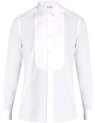 Saint Laurent Rounded-bib tuxedo cotton shirt