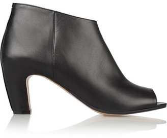 Maison Margiela - Leather Peep-toe Ankle Boots - Black $925 thestylecure.com
