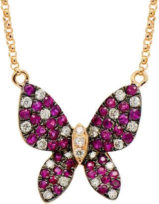 LeVian Suzy Diamonds Suzy 18K Rose Gold 0.74 Ct. Tw. Diamond & Ruby Butterfly Necklace