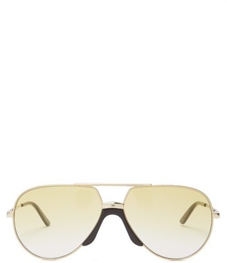 Gucci - Aviator Frame Metal Sunglasses - Mens - Gold
