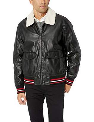 Tommy Hilfiger Men's Sherpa Collar Faux Leather Aviator Bomber Jacket