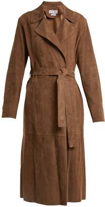 Notch-lapel tie-waist suede coat