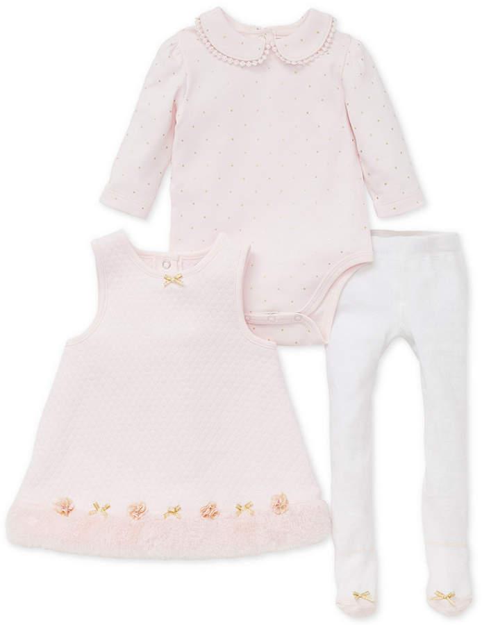 Little Me Baby Girls 3-Pc. Bodysuit, Dress with Faux-Fur Trim & Tights Set