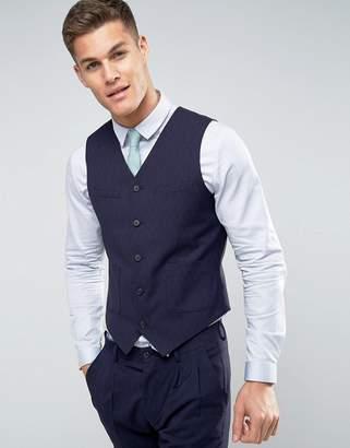 Asos DESIGN Wedding Slim Suit Vest In Navy Crosshatch Texture With Floral Lining