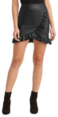 Poof! Juniors' Ruffle Trim Faux Leather Mini Skirt