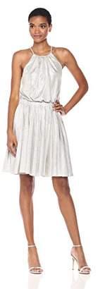 Halston Women's Sleeveless Round Neck Dress with Flounce Skirt