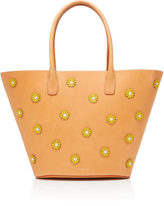 Mansur Gavriel Floral-Appliquéd Leather Tote