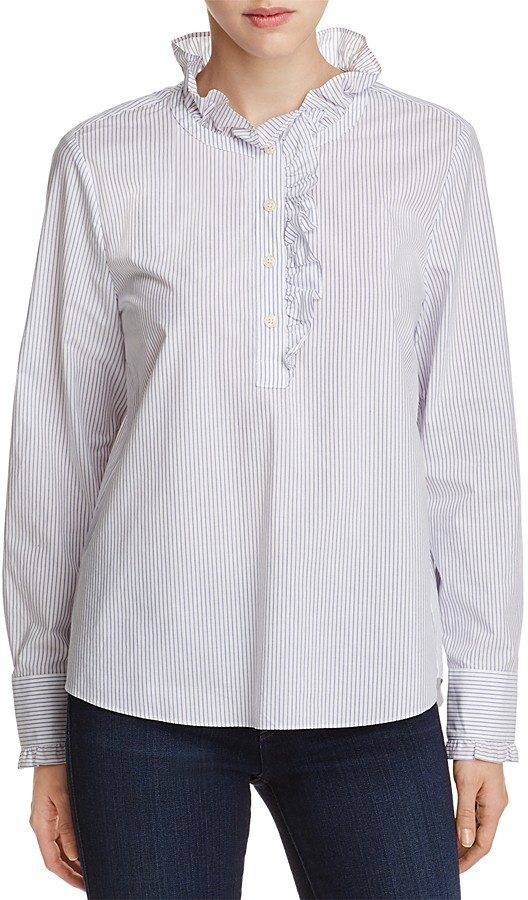 kate spade new york Ruffle Trim Stripe Blouse