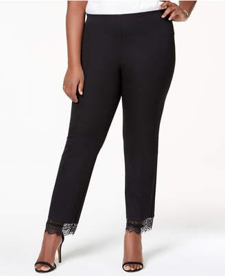 Alfani Plus Size Lace-Hem Ankle Pants