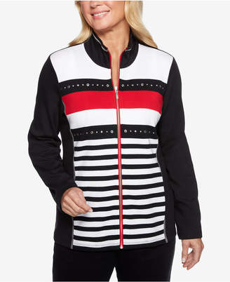 Alfred Dunner Grand Boulevard Striped-Front Zip Jacket