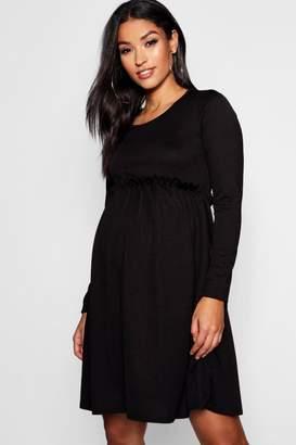 boohoo Maternity Long Sleeve Frill Smock Dress