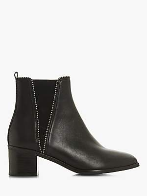 Dune Portobello Stud Ankle Boots, Black Leather